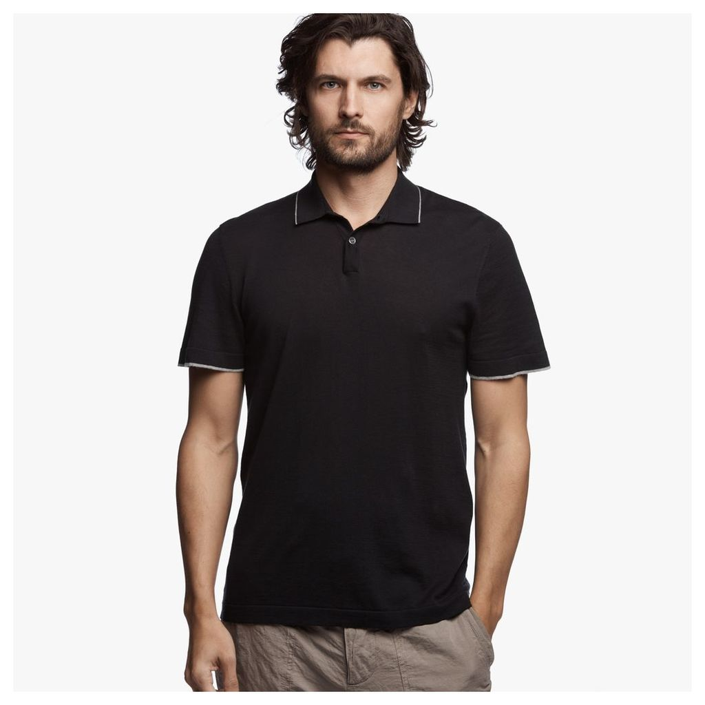 COTTON KNIT POLO SWEATER