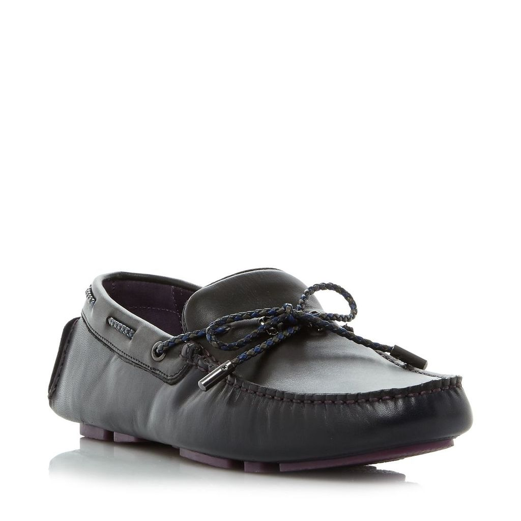 Ted Baker Melato combination leather moccasins, Navy
