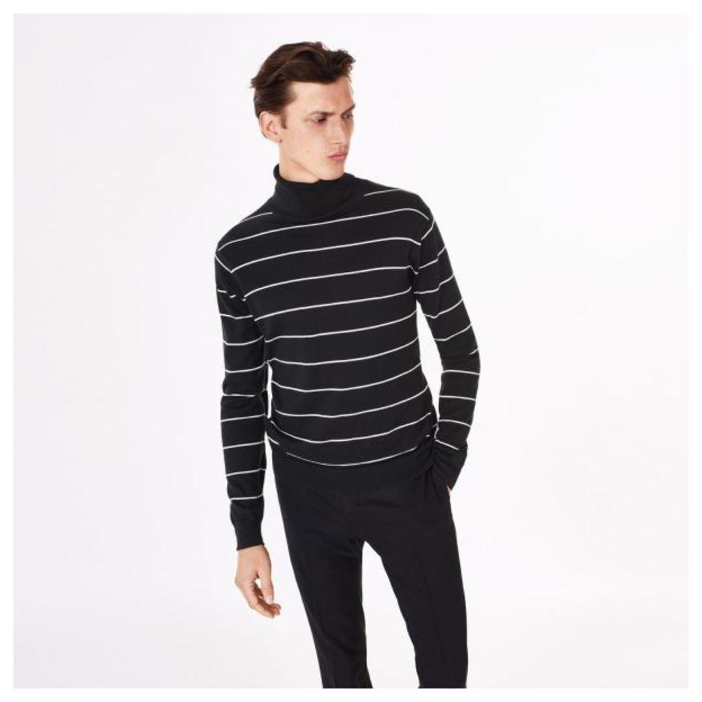 Striped Turtleneck Jumper - Black