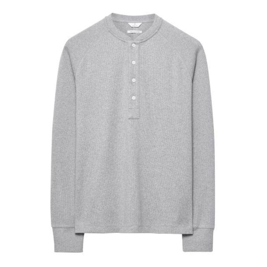 Pima Cotton Luxe Henley T-shirt - Grey Melange