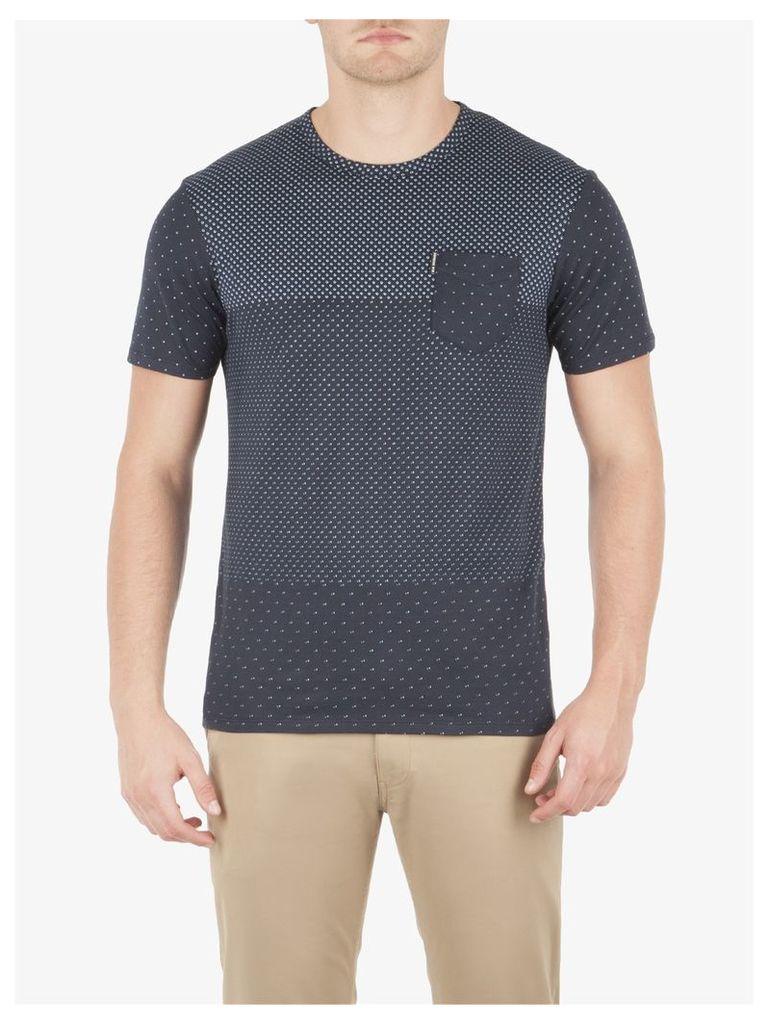 Blocked Micro Print T-Shirt Med Staples Navy
