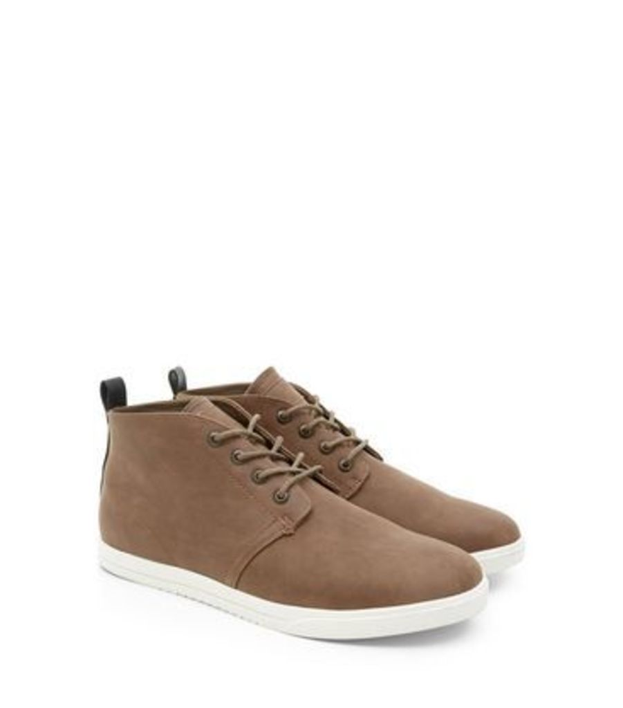 Light Brown Leather-Look Chukka Boots