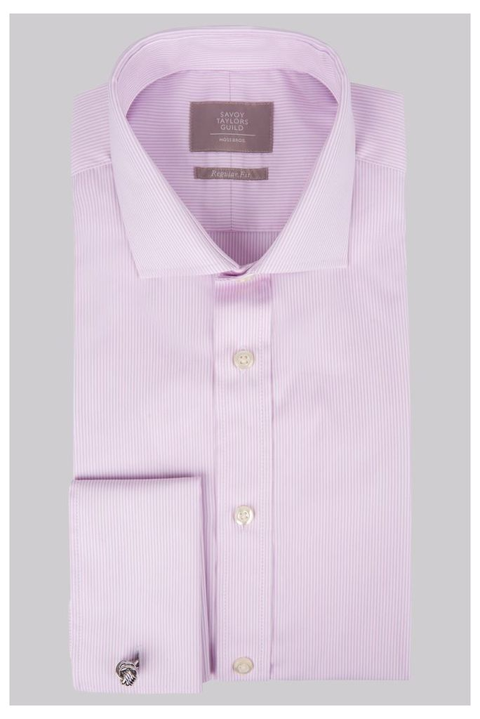 Savoy Taylors Guild Regular Fit Pink Double Cuff Skinny Stripe Shirt