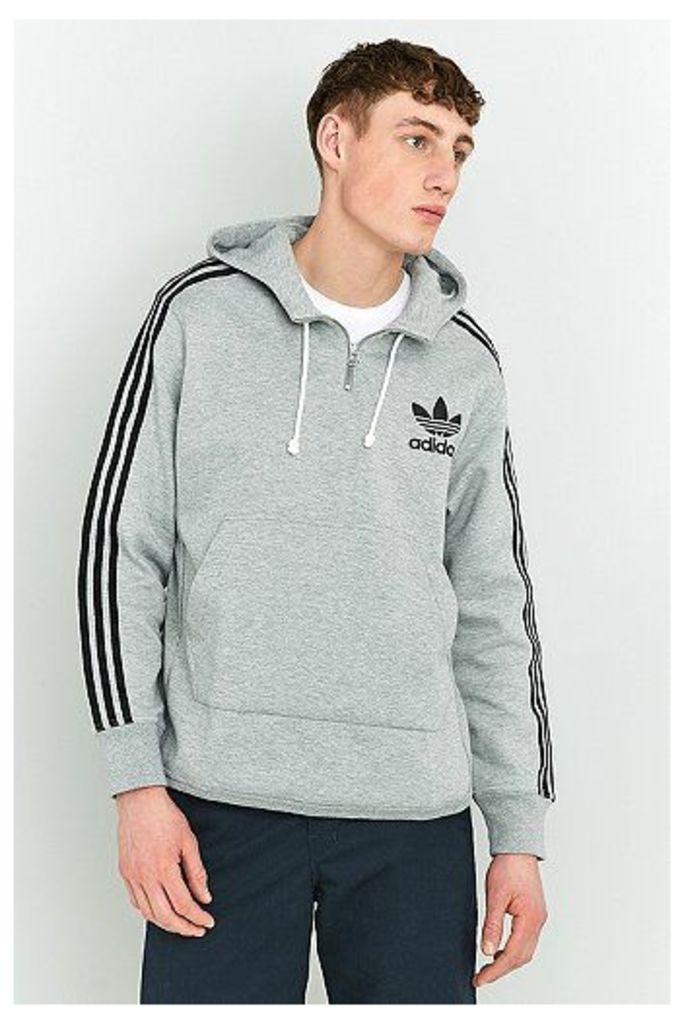 adidas Adicolor Terry 1/4 Zip Grey Hoodie, Grey
