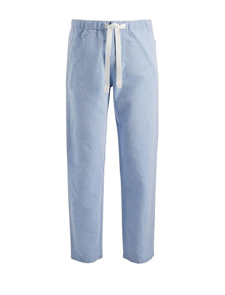 Linen Chambray Abington Trousers in Sky Blue