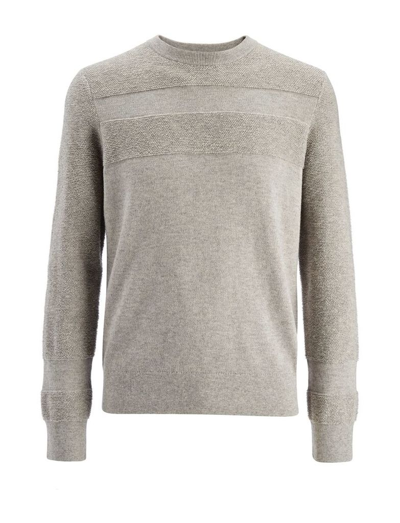Loop Back Knit Sweater in Grey Chine