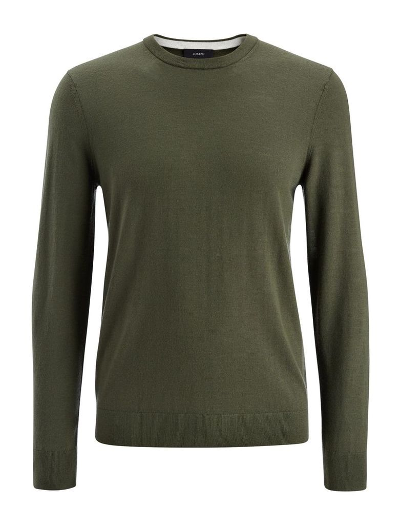 Merinos and Suede Patch Sweater in Khaki