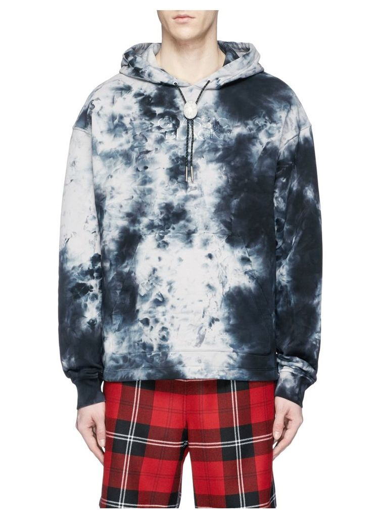 'Classic Black' embroidered tie dye hoodie