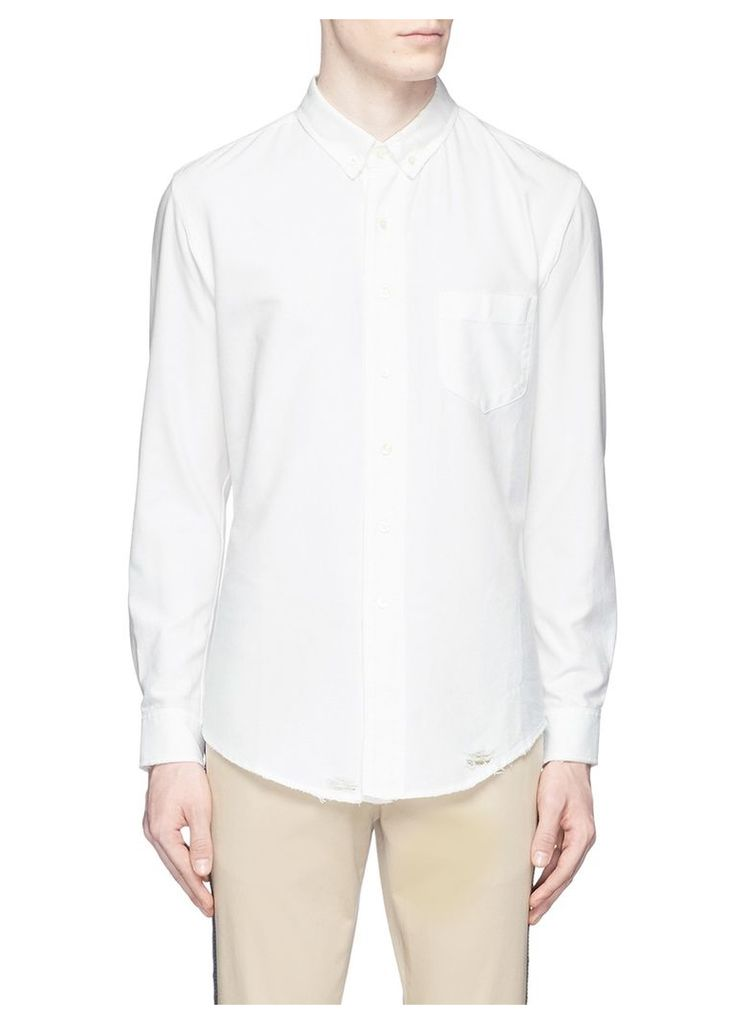 Distressed cotton Oxford shirt