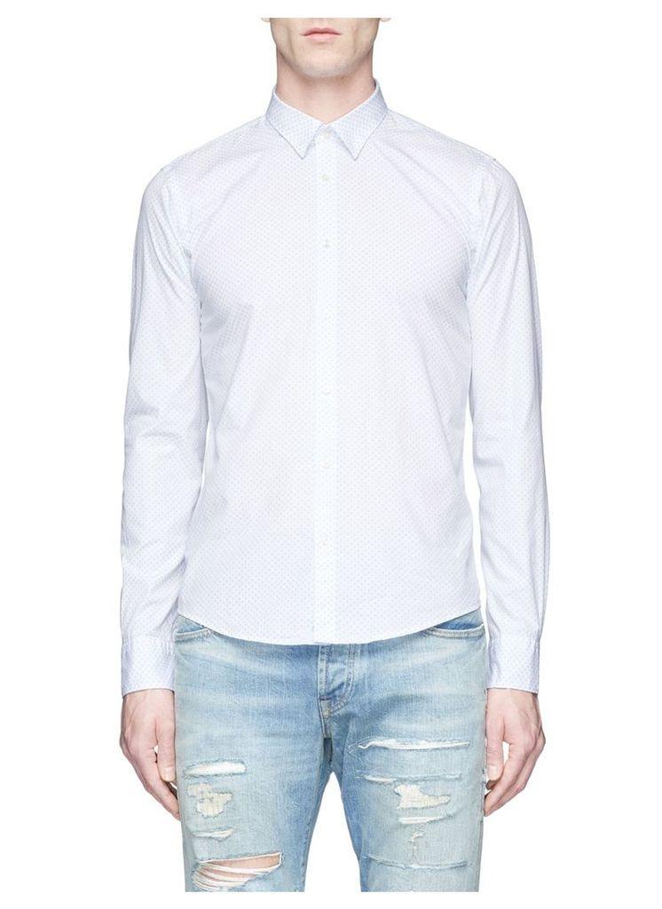 Polka dot print cotton poplin shirt