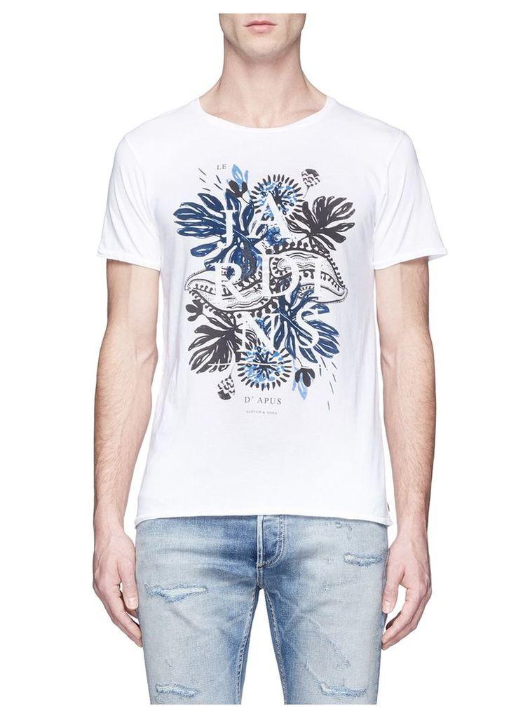 Tropical floral print cotton T-shirt