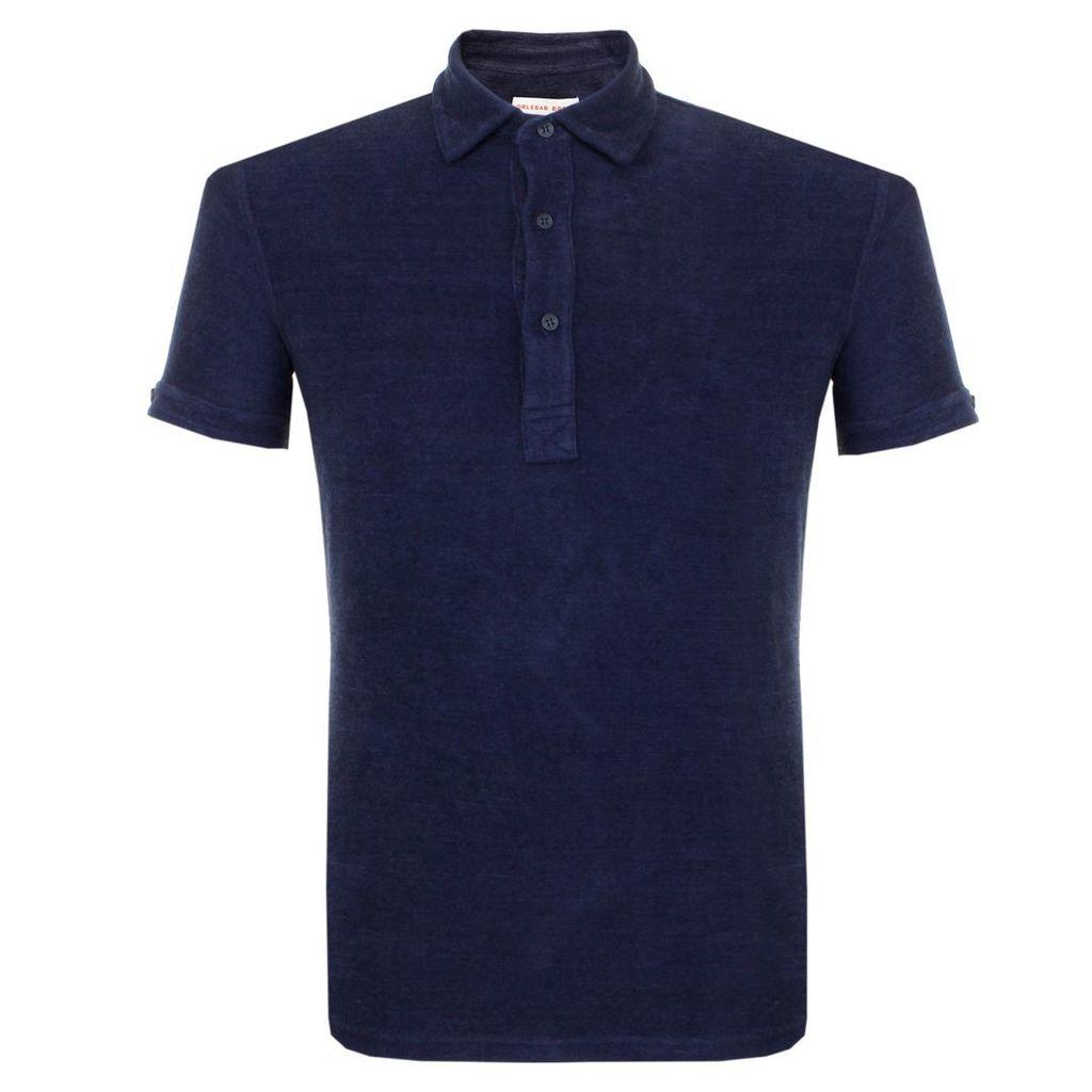 Orlebar Brown Sebastian Towelling Navy Polo Shirt 262302