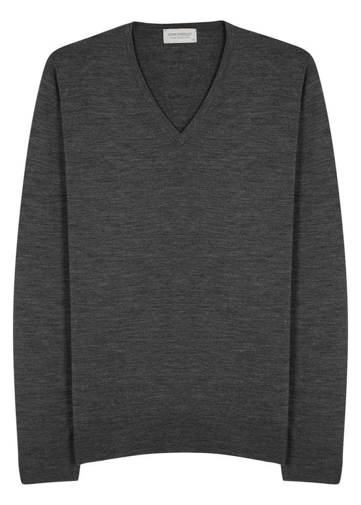 Blenheim charcoal fine-knit wool jumper