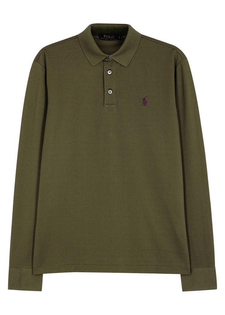 Olive piqué cotton polo shirt