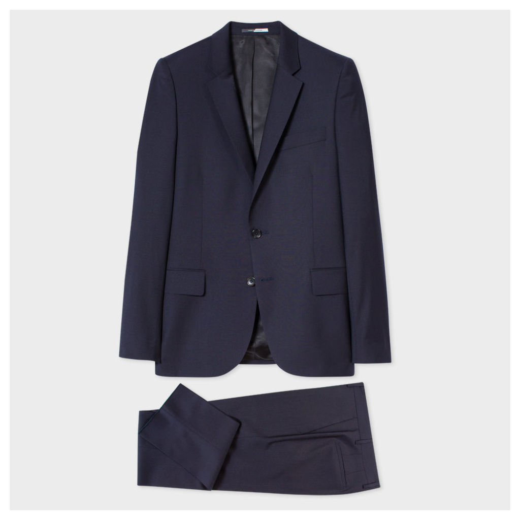 Men's Mid-Fit Navy Blue Wool Suit