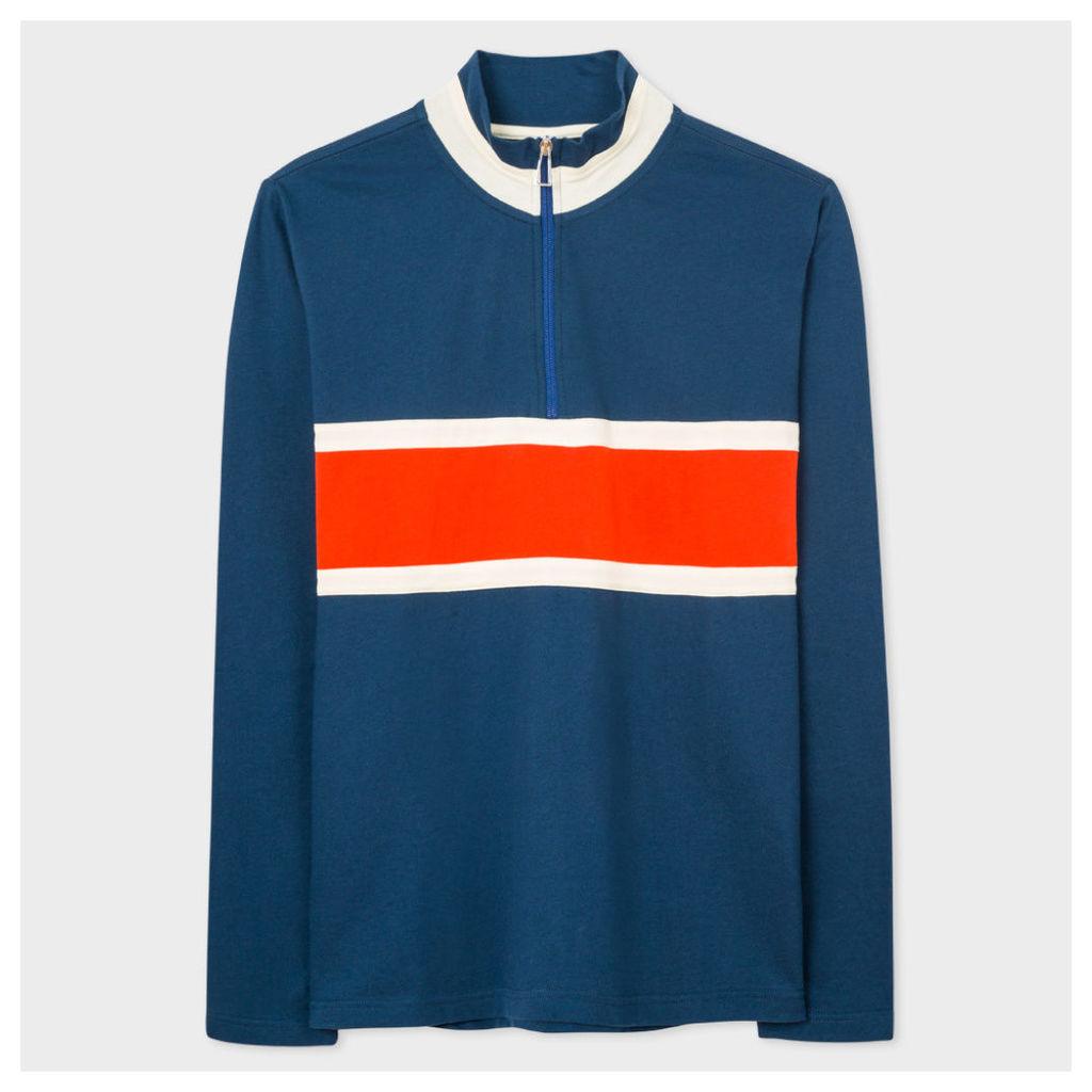 Men's Blue Half-Zip Loopback-Cotton Sweatshirt With Contrast Stripe