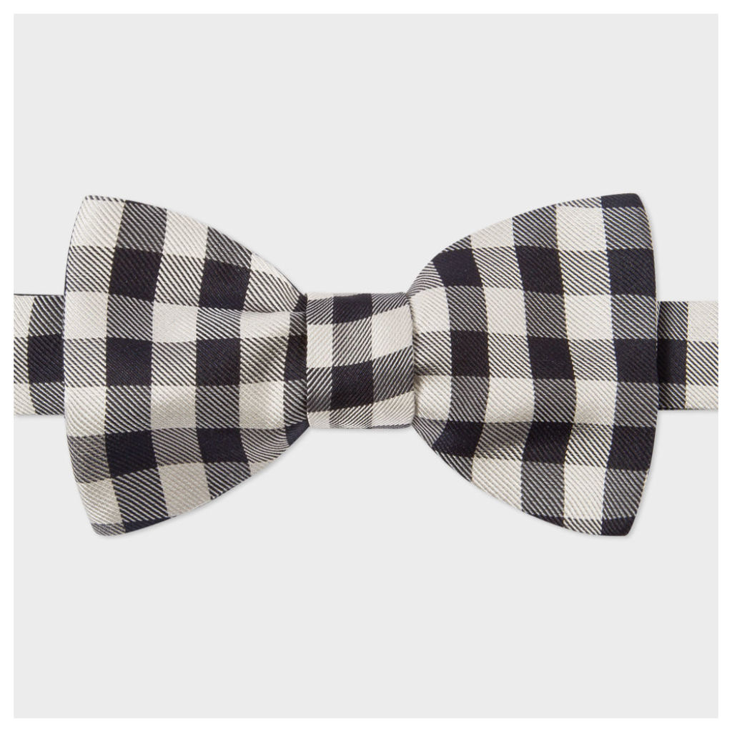 Men's Black And White Gingham Silk Bow Tie