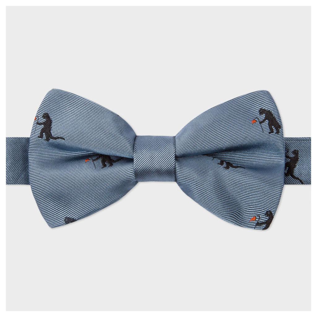Men's Sky Blue 'Kaiju' Pattern Silk Bow Tie