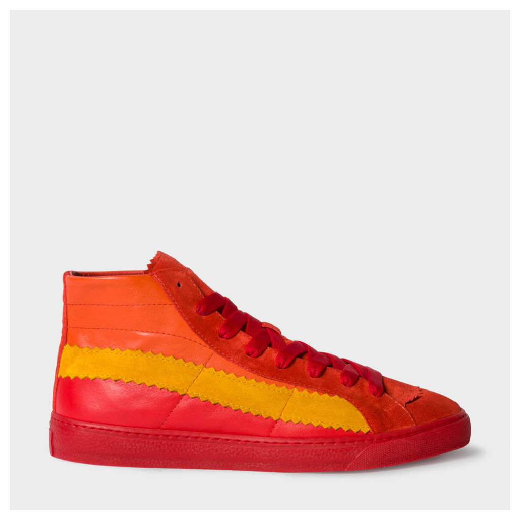 Men's Red Leather And Suede 'Lynn' Trainers
