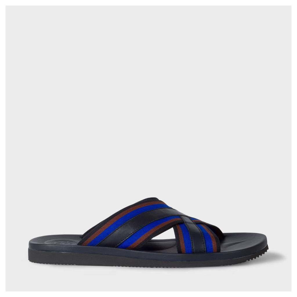 Men's Navy Leather 'Pin' Sandals