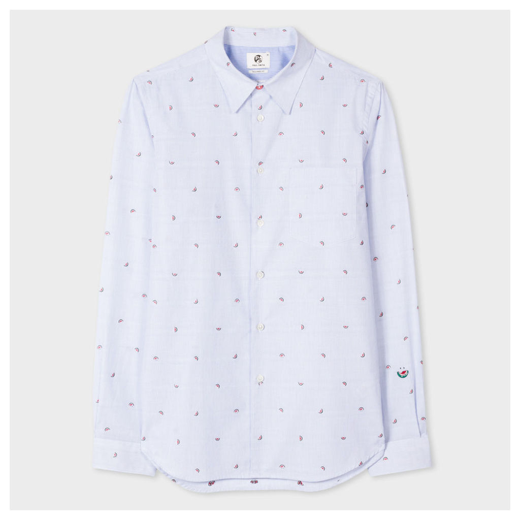 Men's Tailored-Fit Blue And White Pinstripe 'Watermelon' Motif Shirt