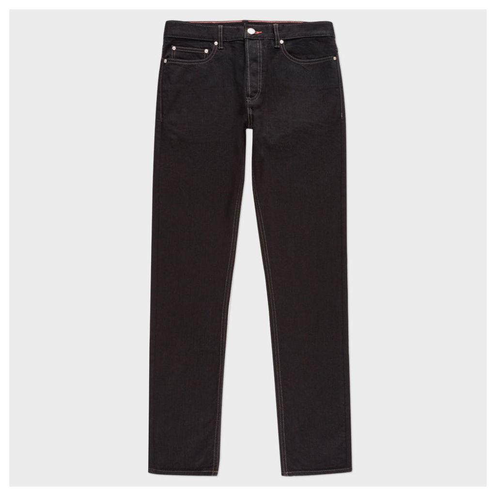 Men's Slim-Fit Black Stretch-Denim Jeans with 'Peace' Stitch Detail