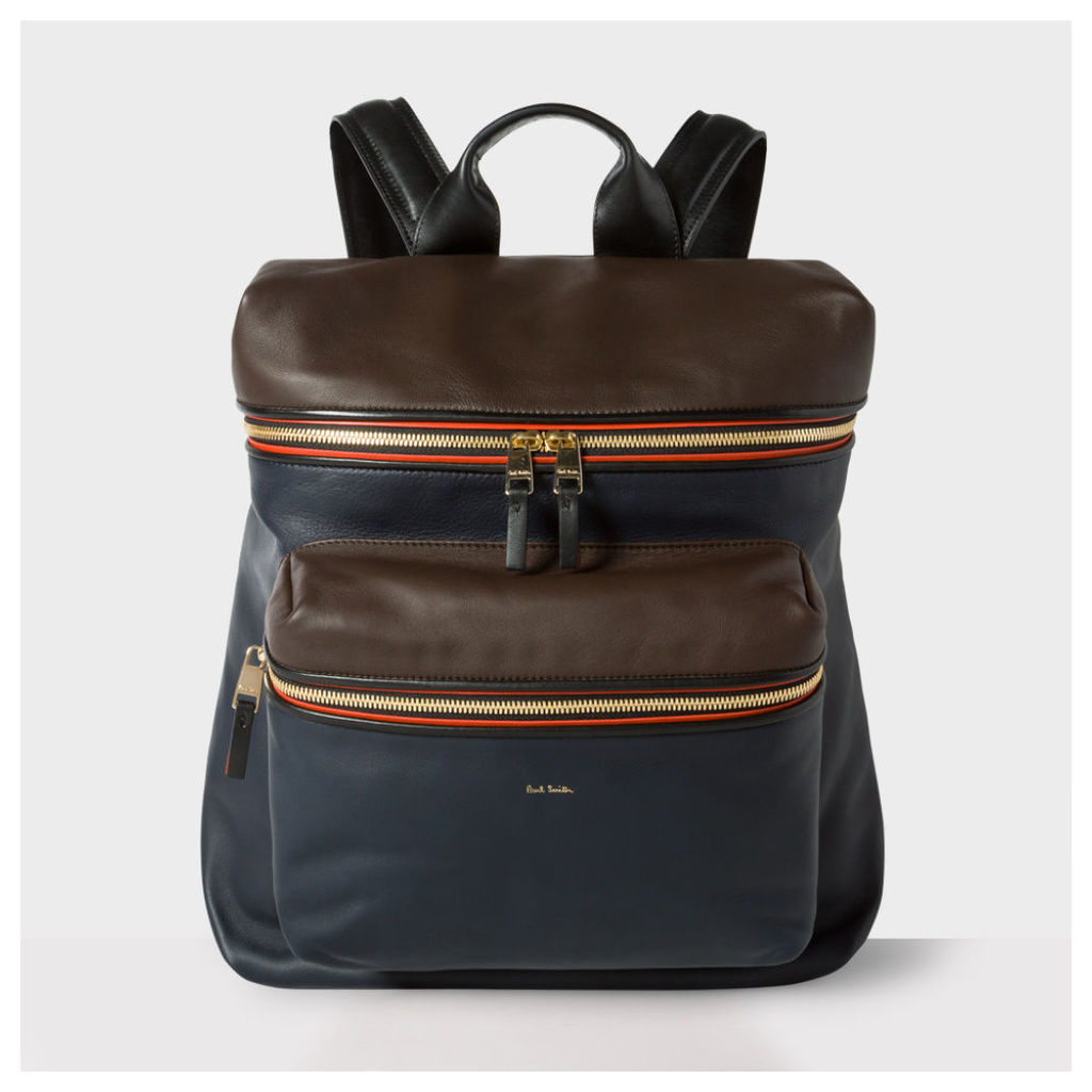 Men's Navy And Brown Lamb Leather Backpack
