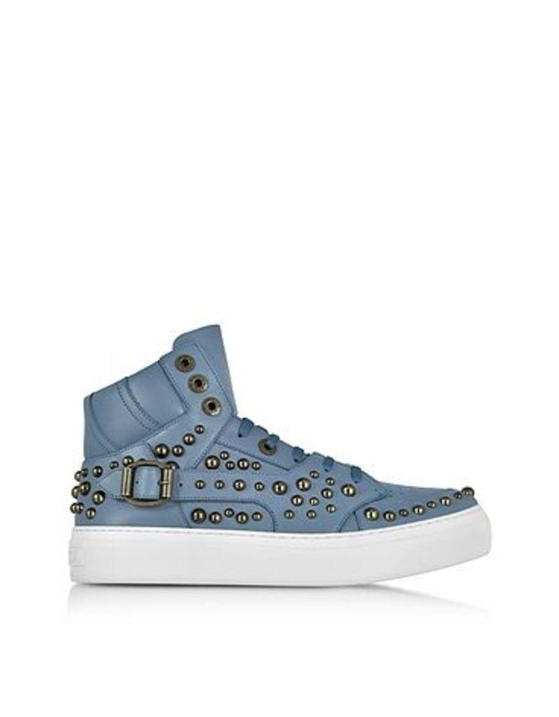 Jimmy Choo - Ruben Jean Leather High Top Sneaker w/Studs
