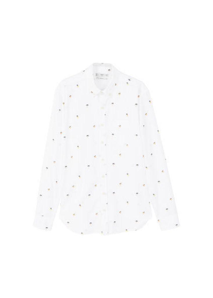 Slim-fit palm-design cotton shirt