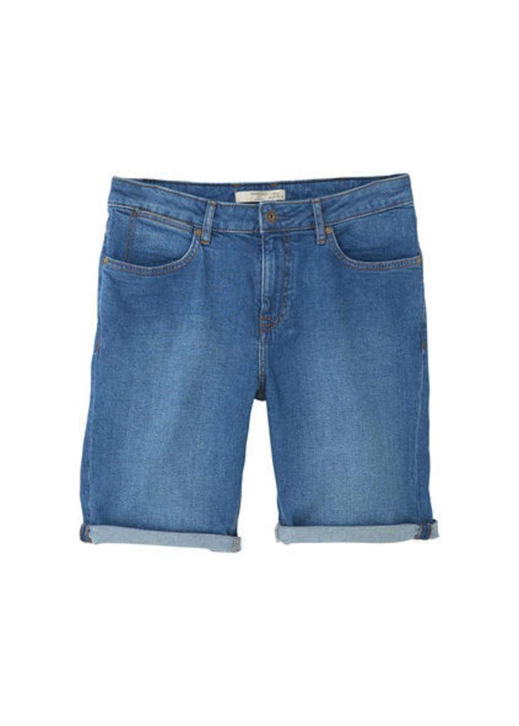Medium wash denim bermuda shorts