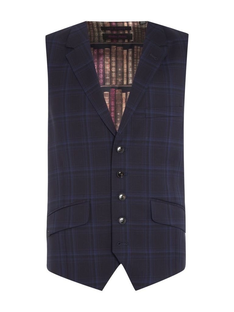 Men's Ted Baker BRONWAY CHECK WAISTCOAT, Navy