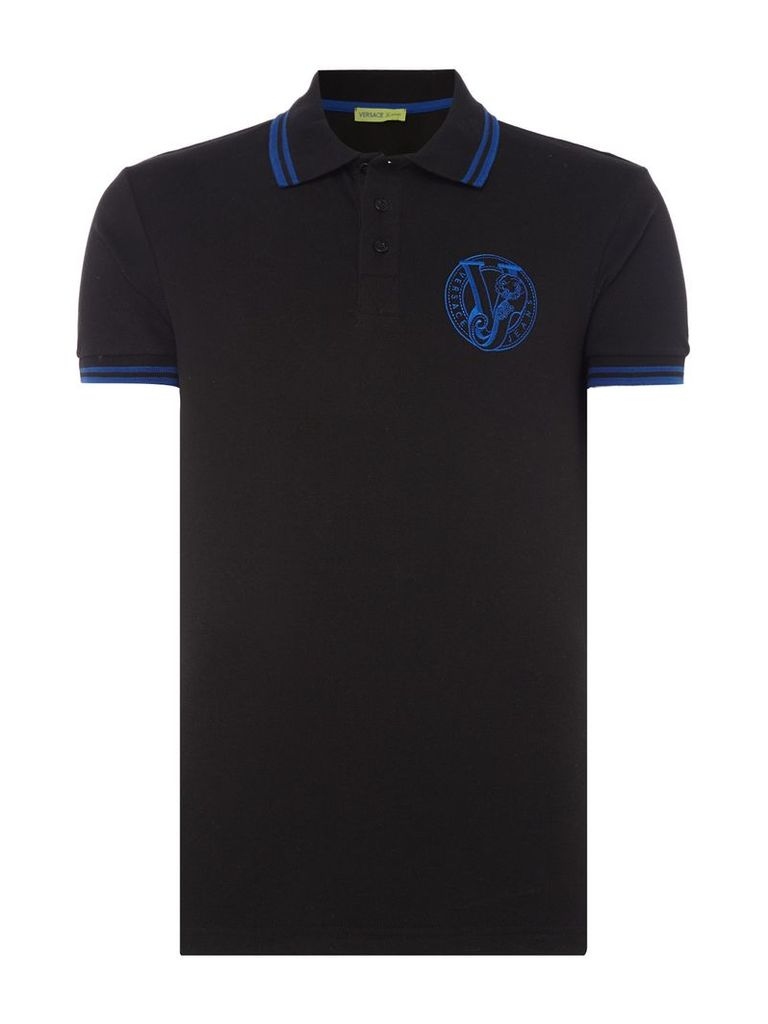 Men's Versace Jeans Slim fit tipped embroidered logo polo shirt, Black