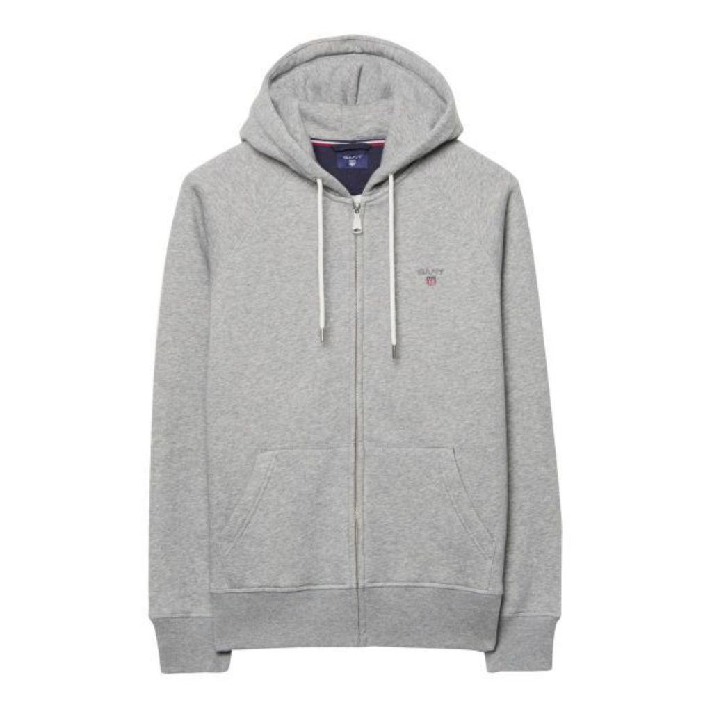 Hooded Zip Sweatshirt - Grey Melange