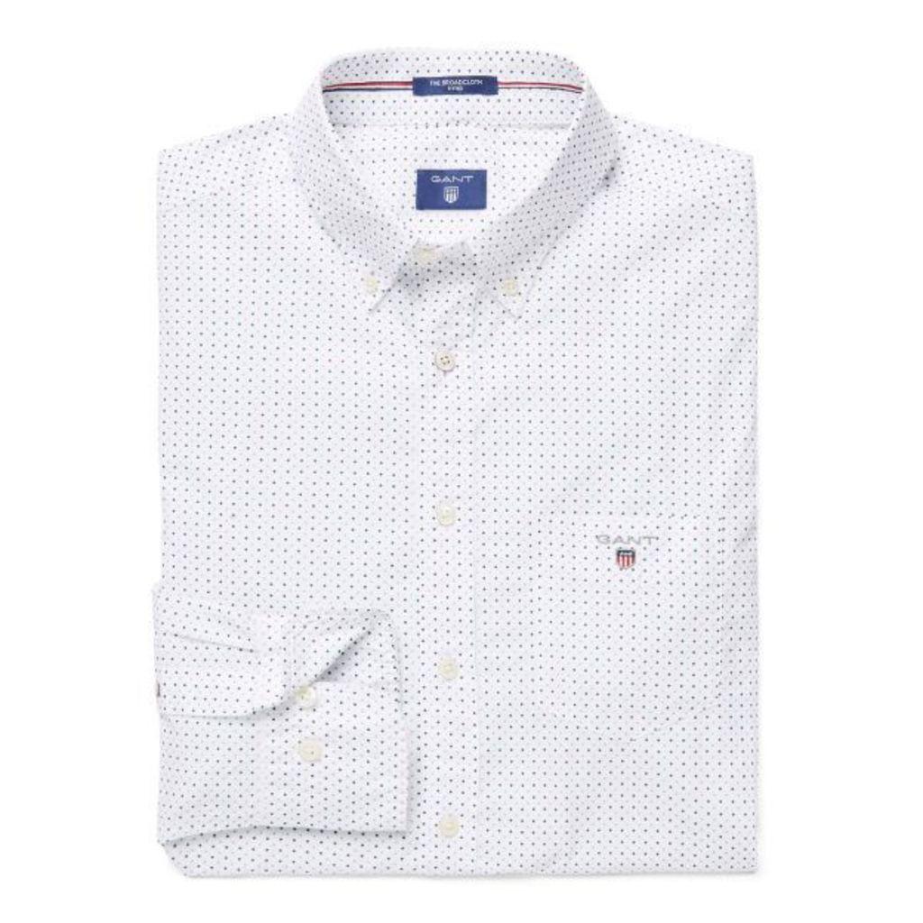 Broadcloth Polka Dot Fitted Shirt - Jade Green