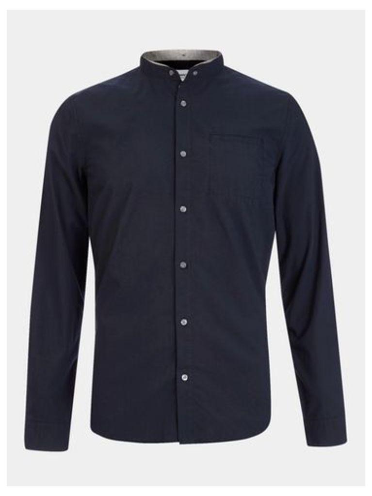 Mens Nowadays Navy Double Collar Shirt*, Blue