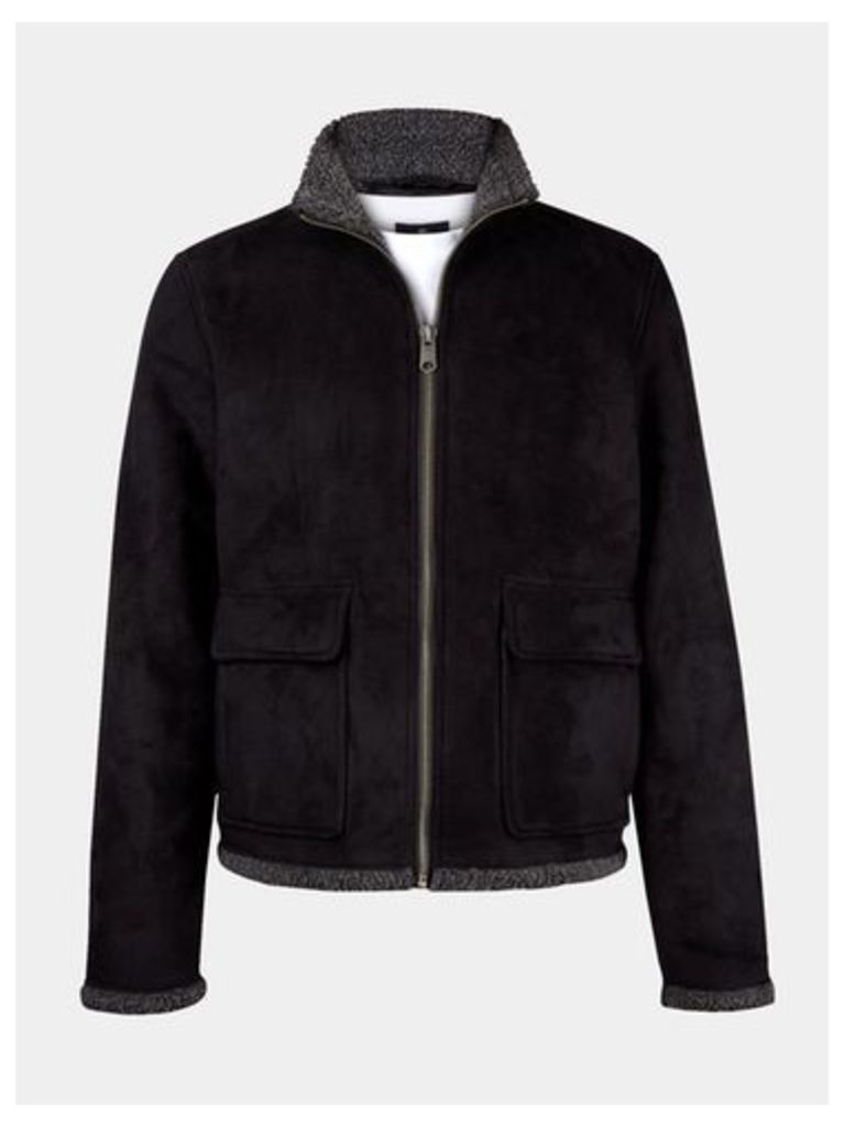 Mens Threadbare Black Faux Sheepskin Jacket*, Black