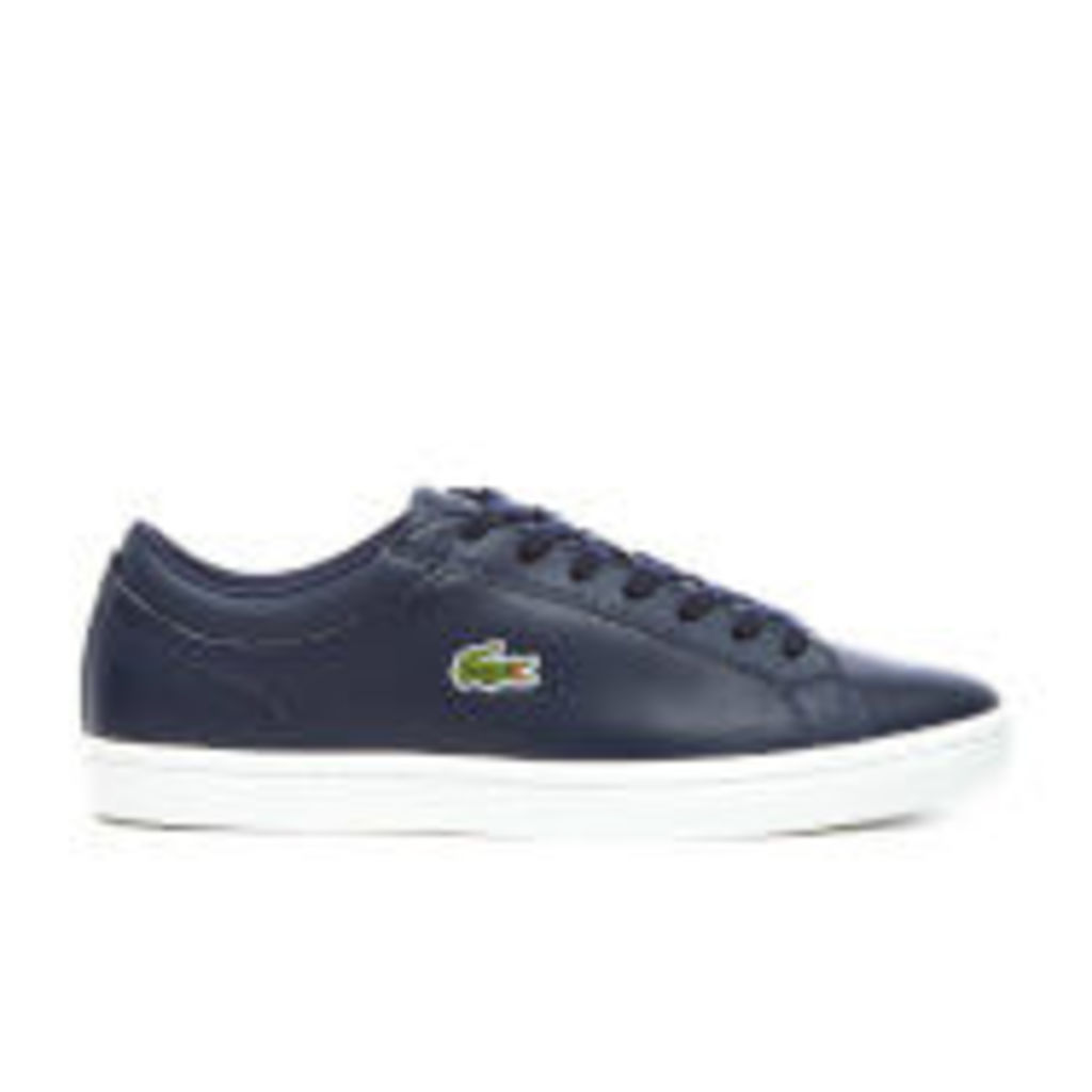 Lacoste Men's Straightset BL 1 Leather Cupsole Trainers - Navy - UK 11