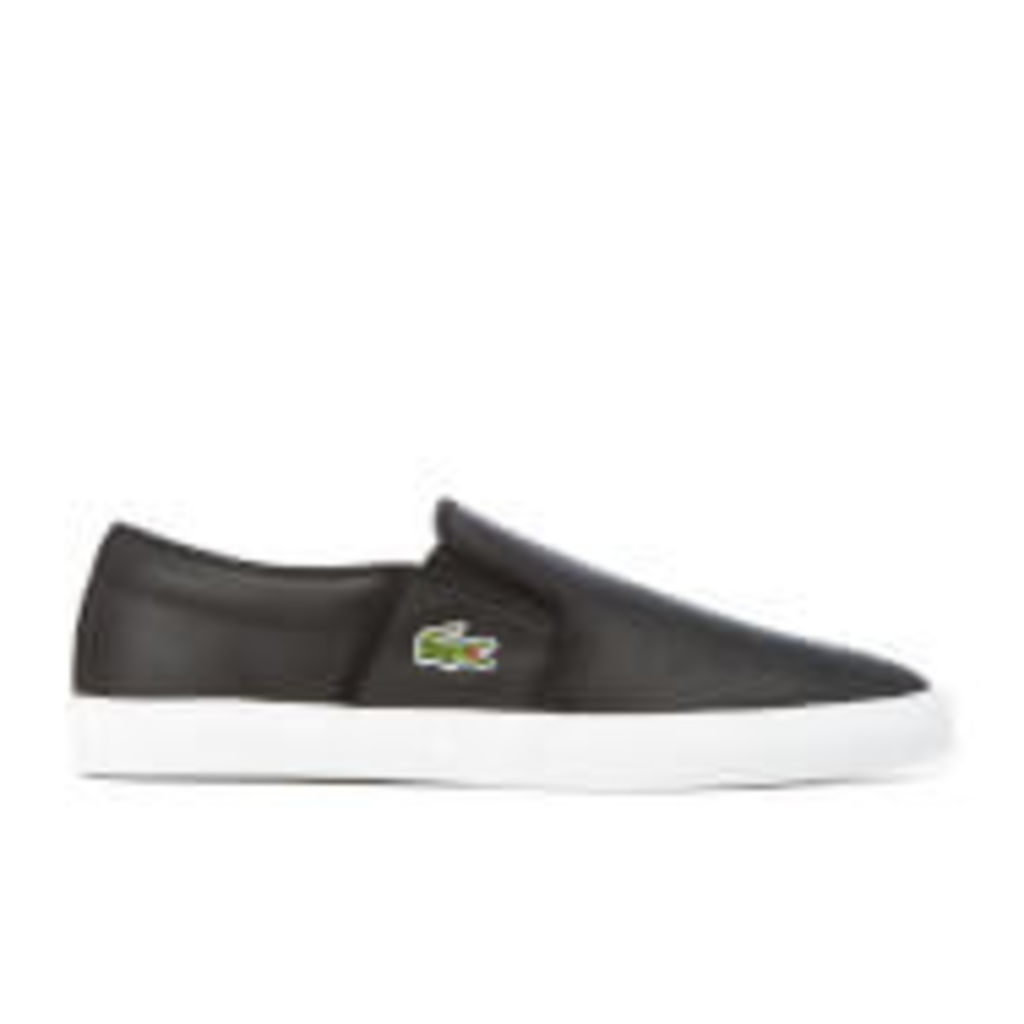 Lacoste Men's Gazon BL 1 Perforated Leather Slip-On Trainers - Black - UK 11