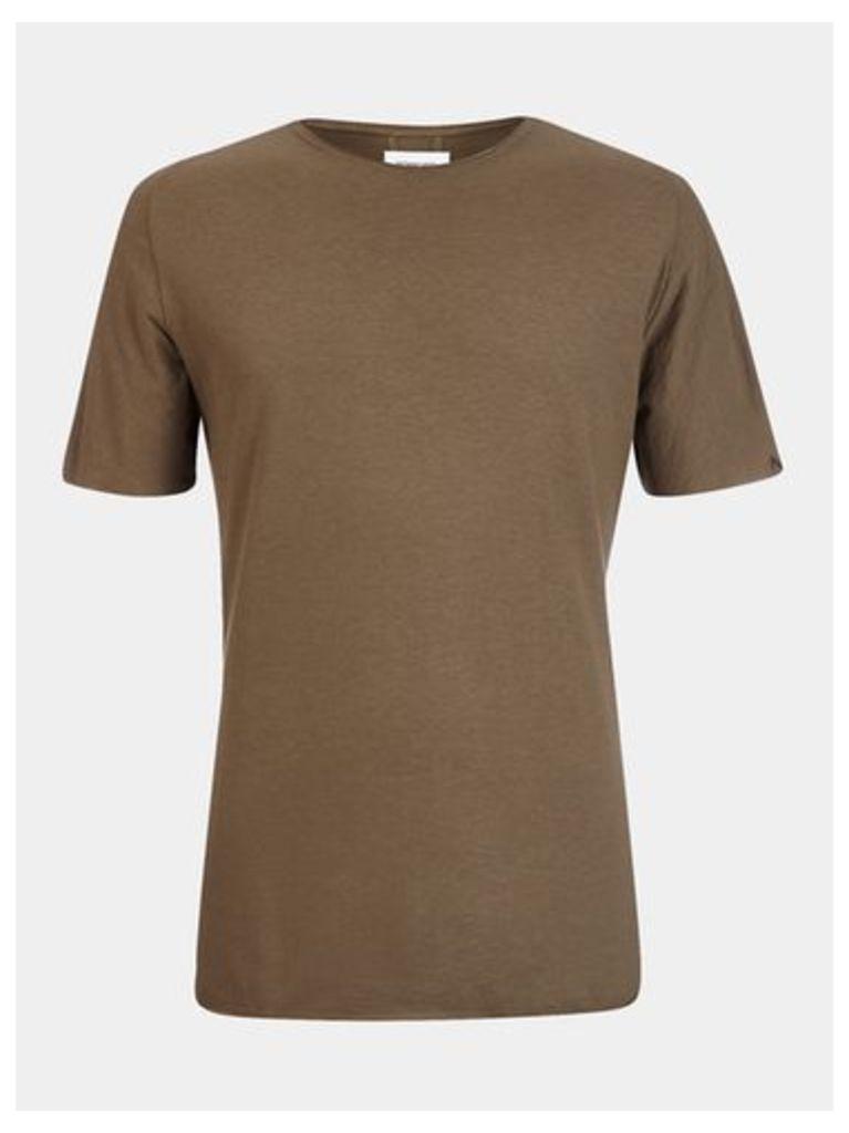 Mens Nowadays Brown Open Edge T-Shirt*, Brown