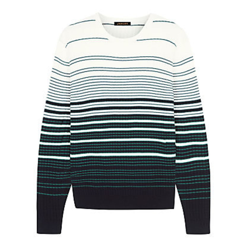 Jaeger Cotton Waffle Stripe Jumper, Green/White
