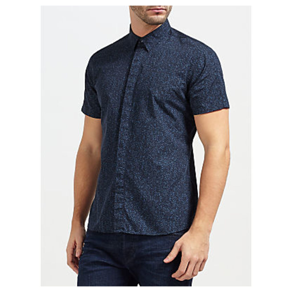 J. Lindeberg Daniel Short Sleeve Print Cotton Shirt, Navy