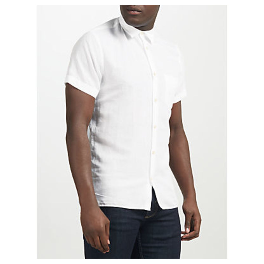 J. Lindeberg Daniel Short Sleeve Linen Cotton Shirt, White