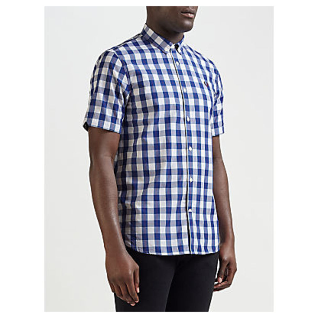 Fred Perry Tartan Gingham Short Sleeve Shirt, White/Blue