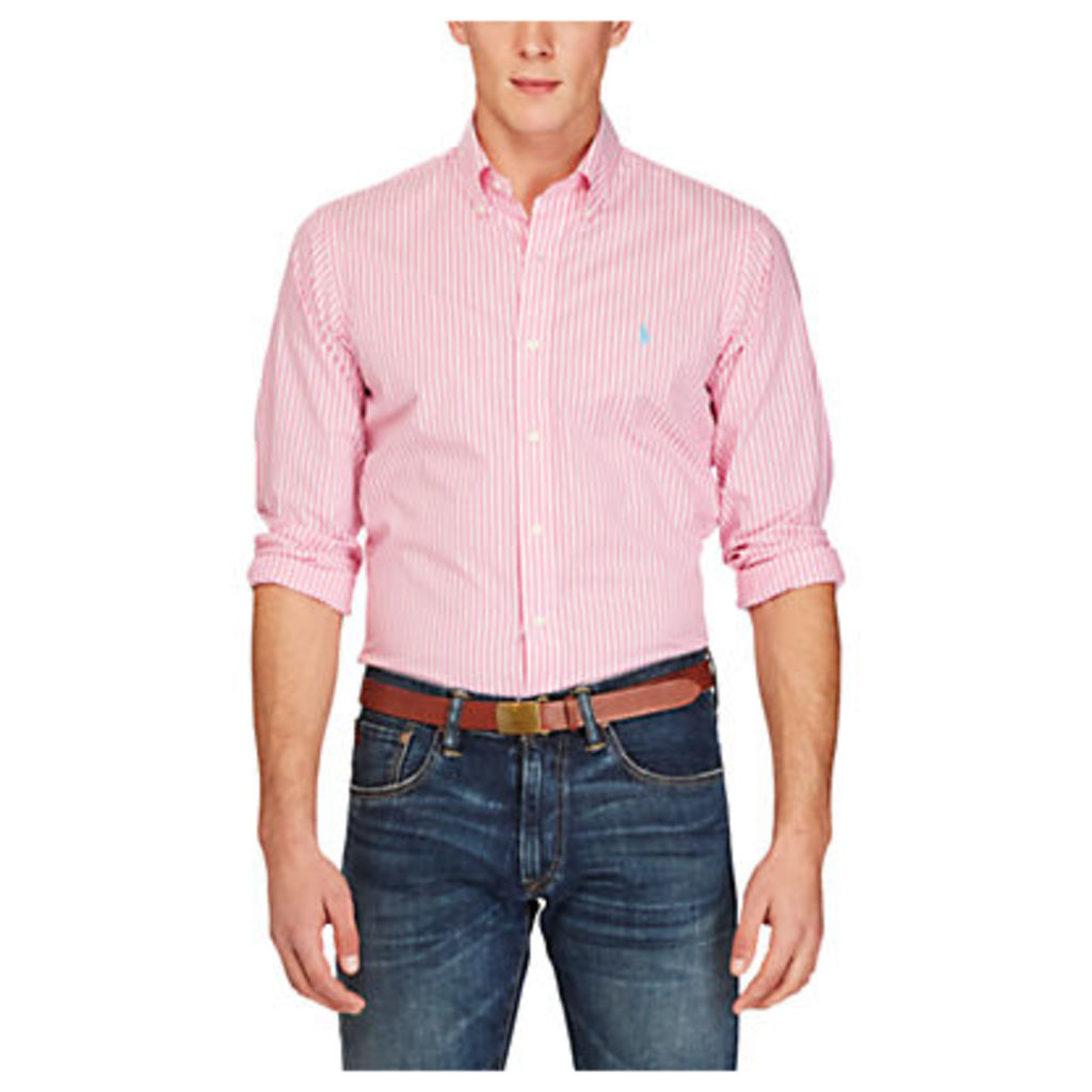 Polo Ralph Lauren Slim Fit Striped Cotton Poplin Shirt, Hammond Pink