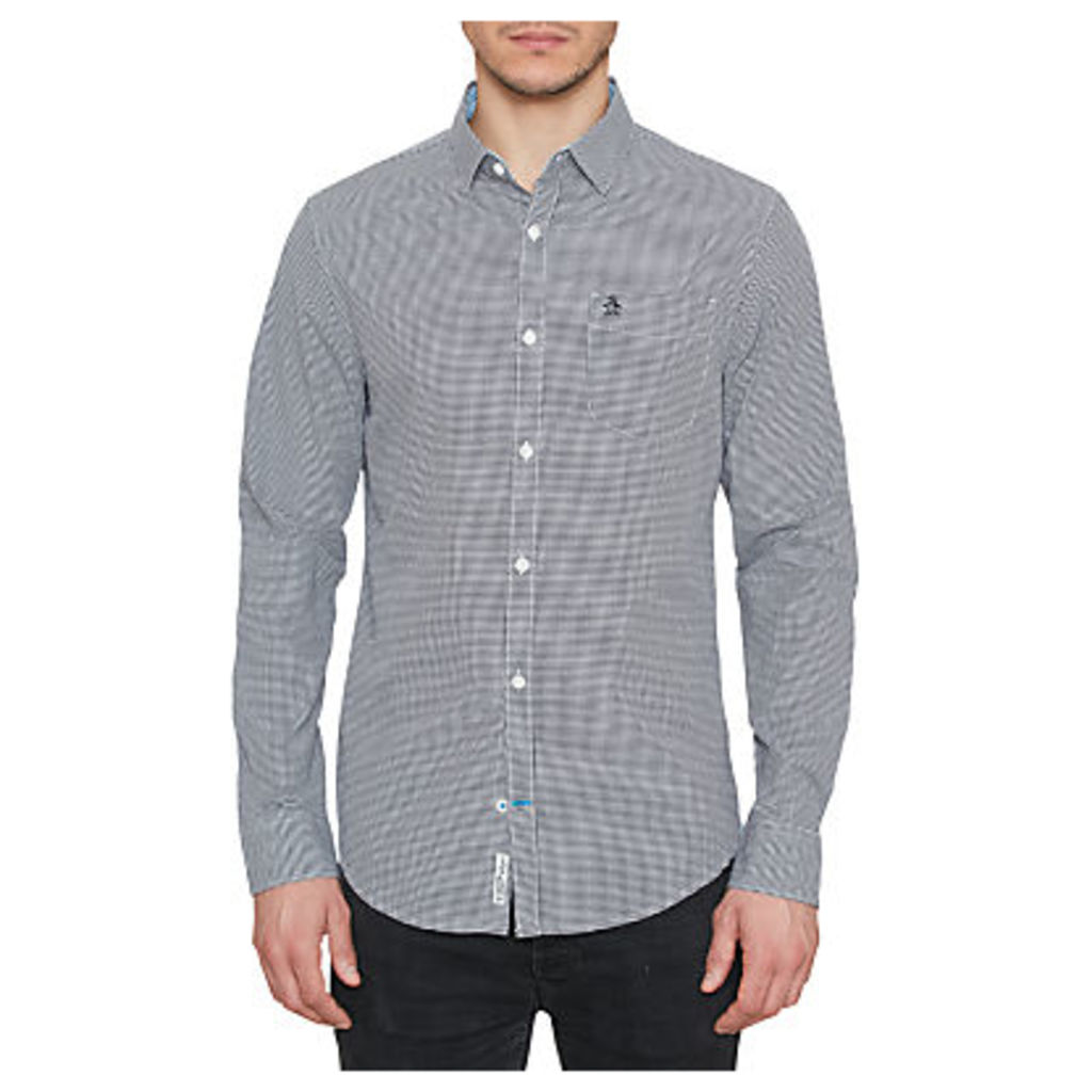 Original Penguin Mini Gingham Long Sleeve Shirt, Dark Sapphire