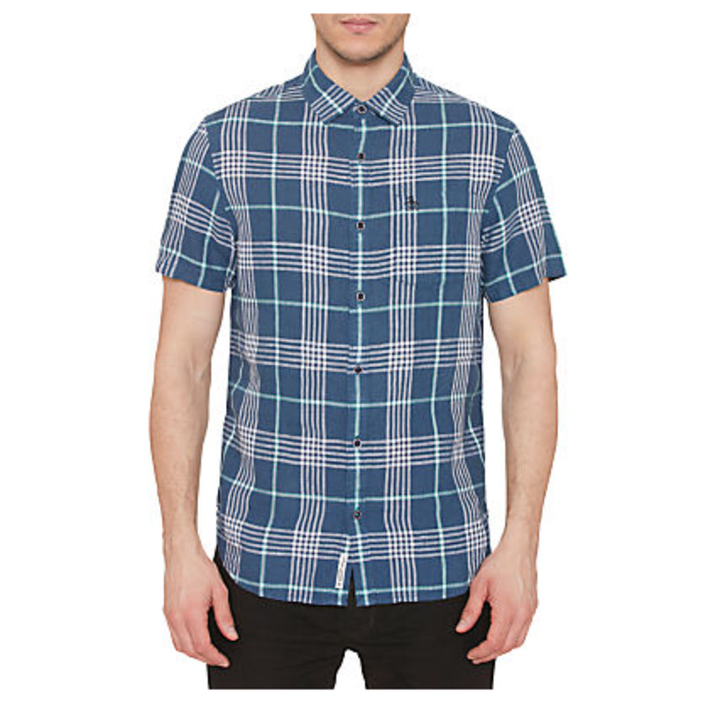 Original Penguin Linen Short Sleeve Check Shirt, Dark Sapphire