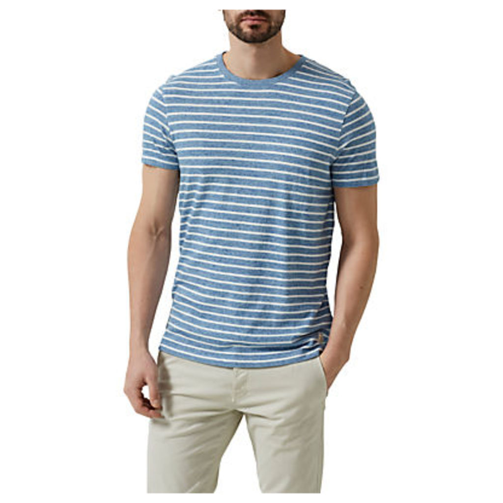 Selected Homme Classic Stripe O-Neck T-Shirt, Forever Blue