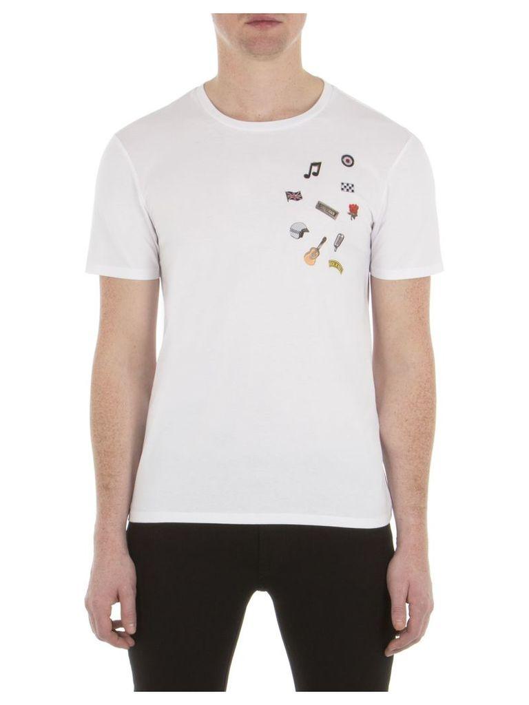 Pin Badge T-Shirt XXS A47 Bright White