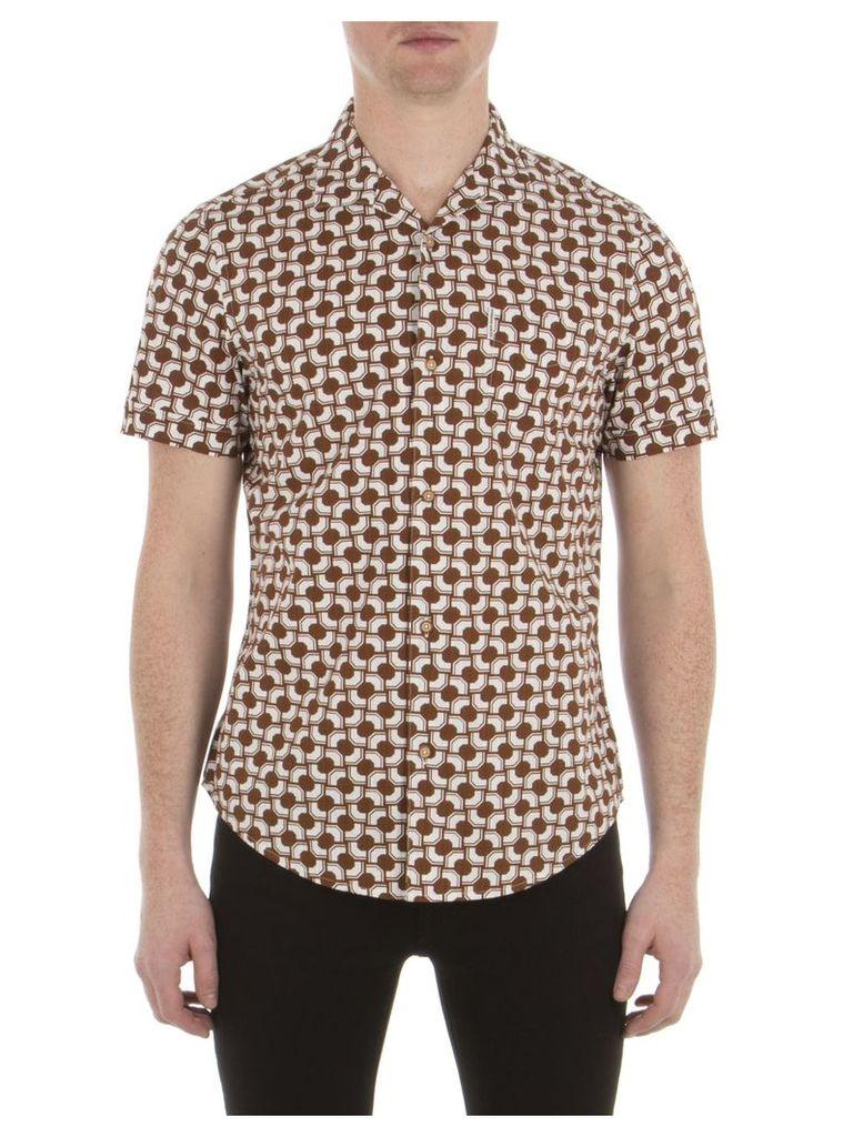 Short Sleeve Optical Stripe Shirt XXS TC1 Tobacco