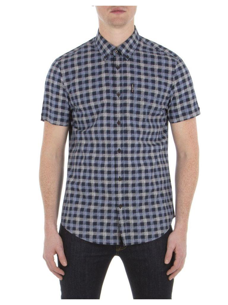 Short Sleeve Sketched House Gingham Shirt XXS B51 Navy Blazer